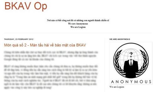 Nhóm tin tặc tự xưng là Anonymous Việt Nam đang là một thách thức lớn với BKAV (ảnh chụp từ bkavop.blogspot.com)