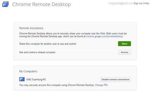 Chrome thêm tính năng điều khiển máy tính từ xa