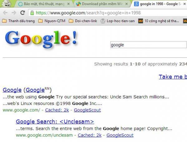 Trở về với giao diện thủa sơ khai của Google